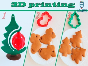 Christmas tree and squeezes for the dough. 3 New Year ideas for 3D printing