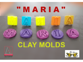 "CLAY MOLD -  PLASTILINA - LETTERS OF ""MARIA"""