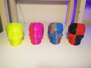 Lowpoly Skull pen holder for two color print remixed and bottom repaired