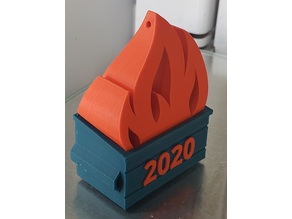 2020 Dumpster Fire Ornament (Dual Color Dumpster and Angled Fire)