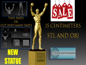 Rocky Balboa STATUE NEW Silvester Stallone STL and OBJ for Printers 3d V8 SALE