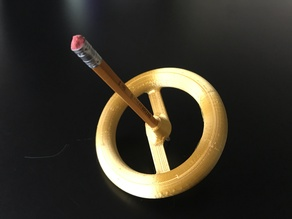 Spinning top with wooden pencil