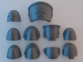 Space Marine Shoulder Pads - Black Templars