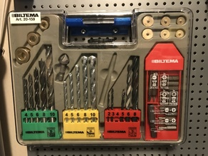 Pegboard Holder for Biltema 20-159 Drill and Bits Set