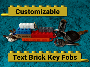 Customizable LEGO compatible Text Brick Key Fobs