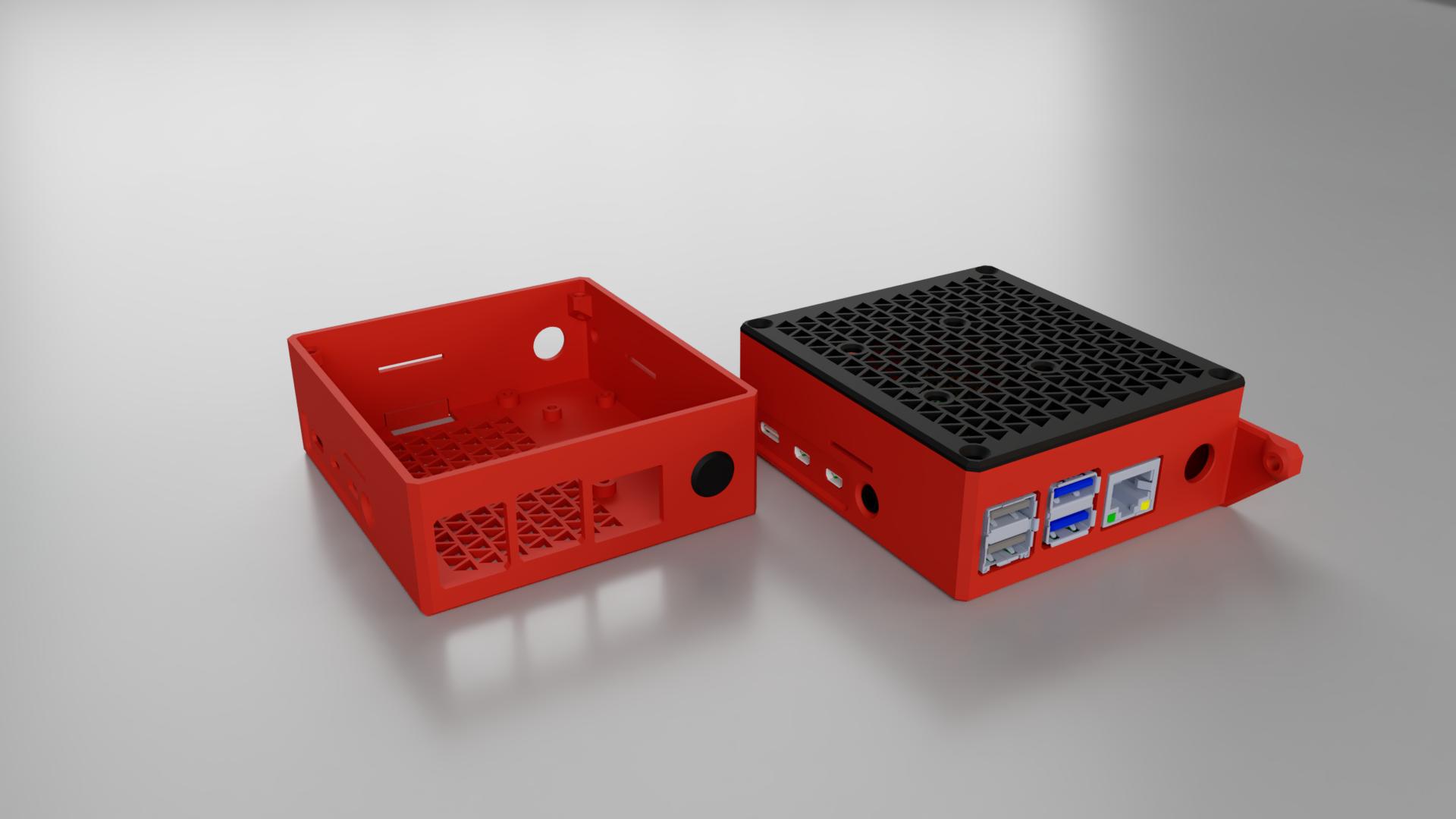 Raspberry Pi 4 Case for Pi & Buck Converter - 40mm fan - Direct Prusa i3 MK3 attachment / Wall mount