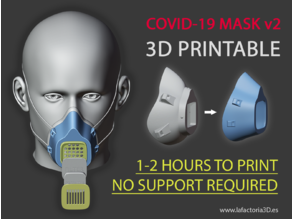 COVID-19 MASK v2 (Fast print, no support, filter required)