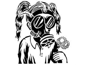 Gas Mask Girl stencil
