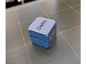 A six-sided die with customisable words on each face