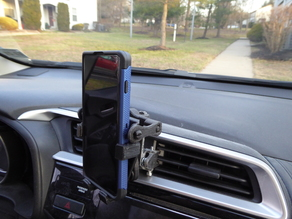 Overly complicated cell phone holder for car