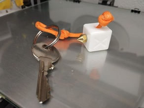 """KEYRING_Calibration Cube with """"your first noozle"""" screwed place KEYRING"""