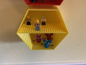 Lego compatible shelves for Wall mounted honeycomb shelf system