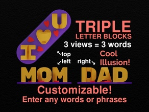 Customizable Triple Letter Blocks Ambigram