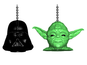 Darth Vader / Yoda Pull Ball Chain or Keychain Knob | Handle | Fob | Finials
