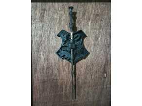 Hogwarts shield elderwand wall holder