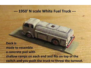 N Scale - White COE Fuel Truck for switch machine push-pull slide