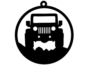 Jeep silhouette round hanging decoration