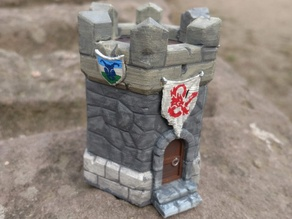 Transport tower box for Heroforge miniature (hex base)