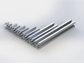 Profilati estrusi in alluminio 20mm x 20mm V-SLOT modulari