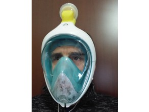 Snorkeling mask virus-bacterial filter adapter (covid19)