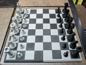 Deluxe Edition 3D-Print-Optimized Geometric Chess Set Pieces