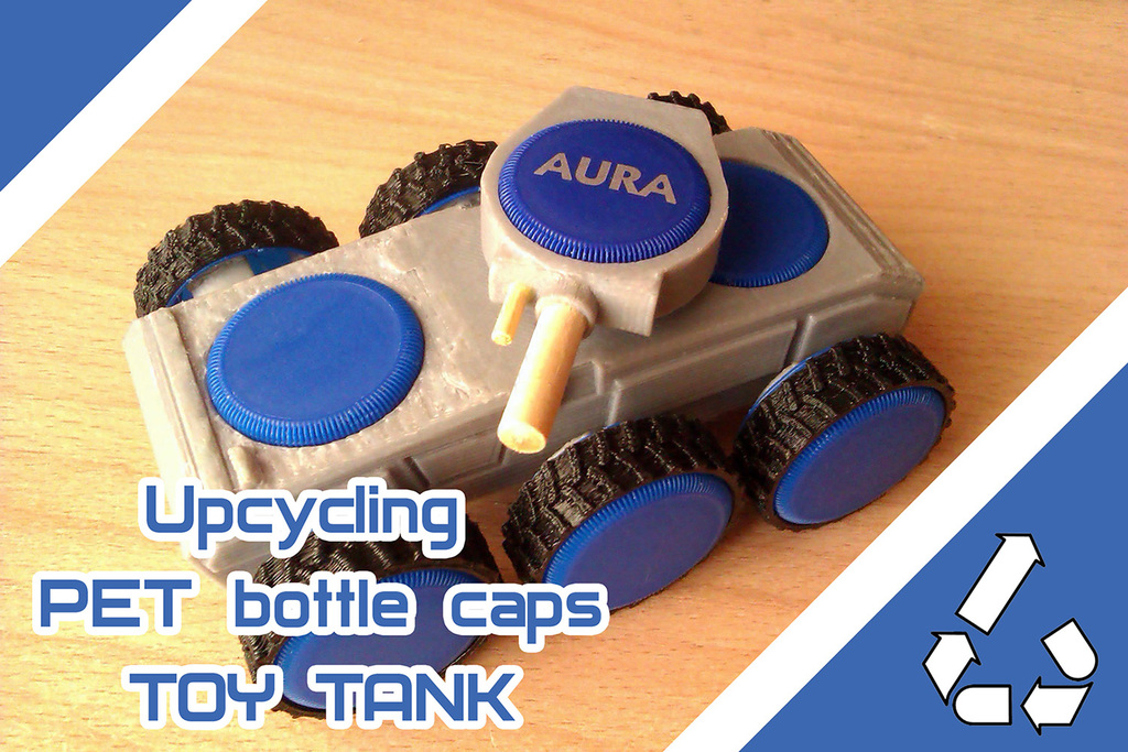 TOY TANK from PET-bottle caps