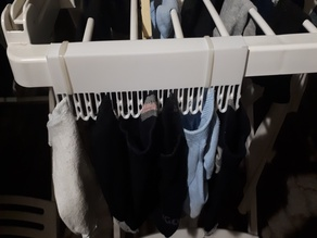 sock clips for drying rack - squared, mount with zip ties