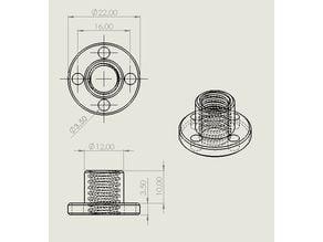 Vis trapézoïdale T8 ISO - 1 filets - Pitch 1.5mm - Lead 1.5mm