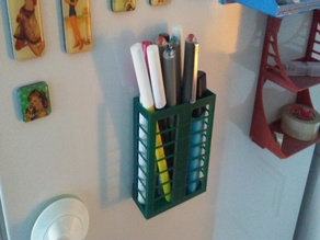 Magnetic frige pen holder
