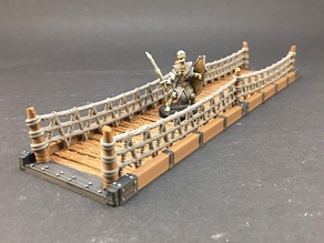 Wood Bridge with rope railings for 28mm miniatures gaming