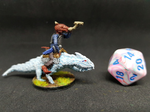 Kobold Bard on Guard Drake for 28mm tabletop Roleplay
