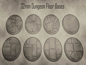 32mm Dungeon Floor Miniature Bases (x8) For Dungeons & Dragons and Other Tabletop Games
