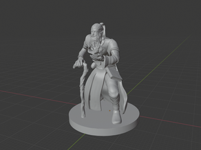 Old Elven Wizard holding a Fireball