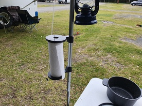 Paper towel holder for tent poles
