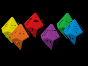 Decahedron dice with Arabic, Roman, Braille, Draconic and Klingon numerals