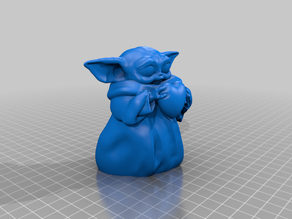 Baby Yoda holding a heart