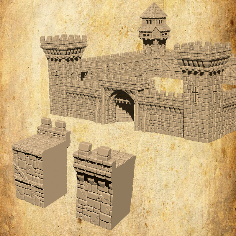 Medieval tabletop kickstarter, wallpack sample, medieval interlockable castle wall