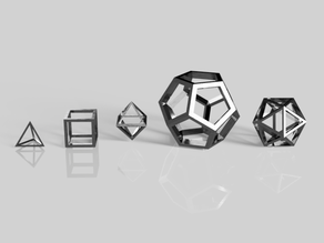 5 Platonic Solids (Solid and Wireframe)