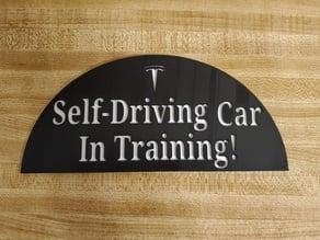 Tesla Self-Driving Car in Training Sign