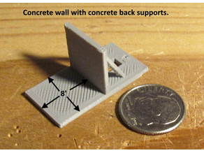 N - Scale Bare 8 Foot Deck with a concrete Wall for switch Machine