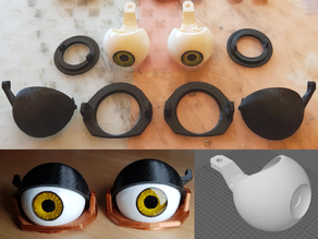Movable puppet eye and eyelid