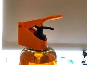 Liquid soap/hand sanitizer dispenser for single hand/forearm use.