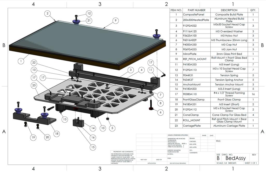 Kinematic Mount Print Bed For Dremel 3D20 / Flashforge Inventor