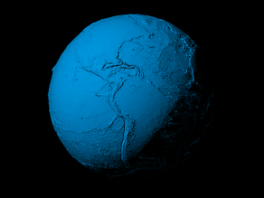 Earth with exaggerated topography scaled one in sixty million