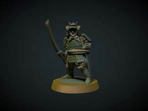 Samurai in armor 28mm (no supports needed)