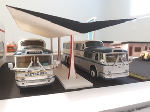 Googie Bus Station Canopy / Gas Bar - HO Scale