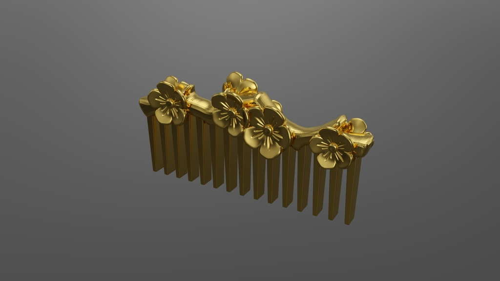 apricot flower hair comb