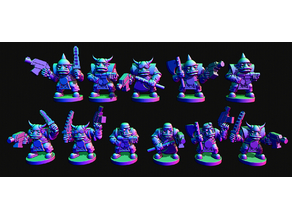 Small scale Space Orc infantry with helmets