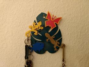 Key Board , Key Holder - Schluesselbrett with Geckos