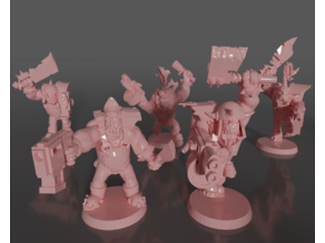 Ork soldiers with melee weapons and pistols set#4